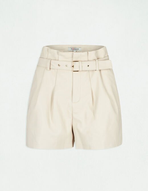 High-waisted straight belted shorts ivory ladies'