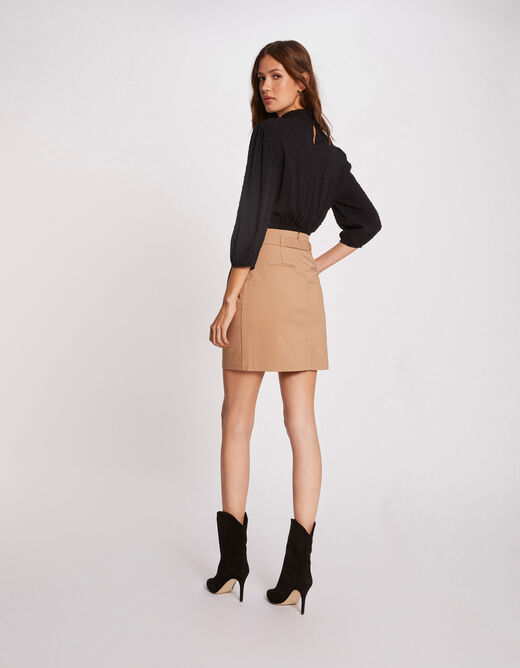 Straight skirt with buttoned tabs camel ladies'