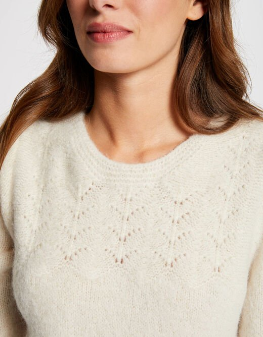 Long-sleeved jumper with round neck ivory ladies'