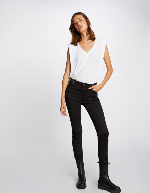 Slim trousers with zipped details black ladies'