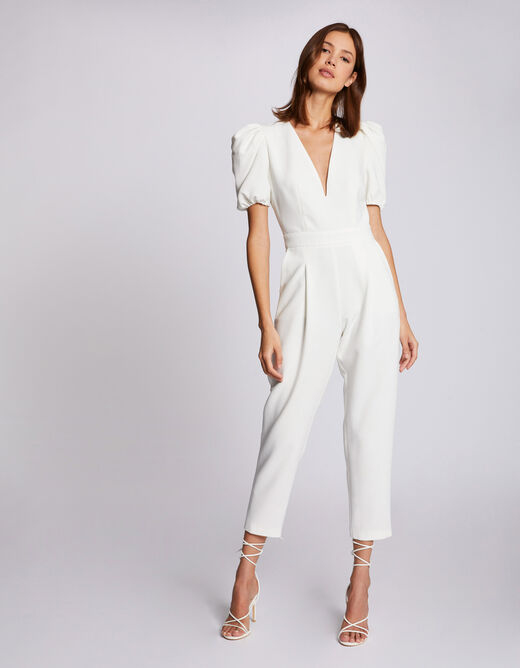 Straight jumpsuit with puff sleeves ivory ladies'