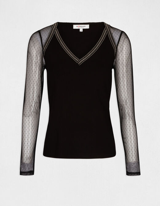 Long-sleeved t-shirt with dobby spot black ladies'