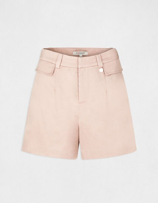 High-waisted straight loose shorts antique pink ladies'