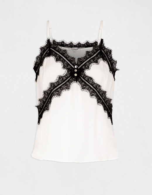 Blouse with thin straps and lace ecru ladies'