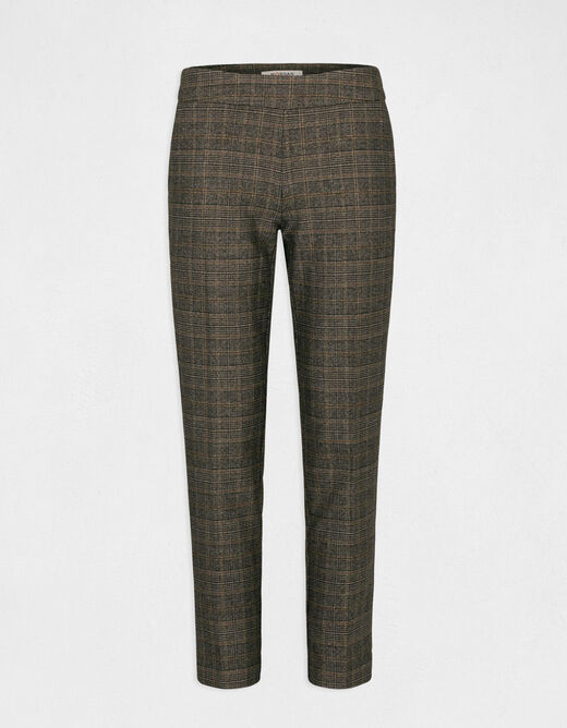 Checked cropped cigarette trousers chestnut brown ladies'