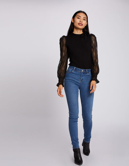 Long-sleeved jumper with lace black ladies'