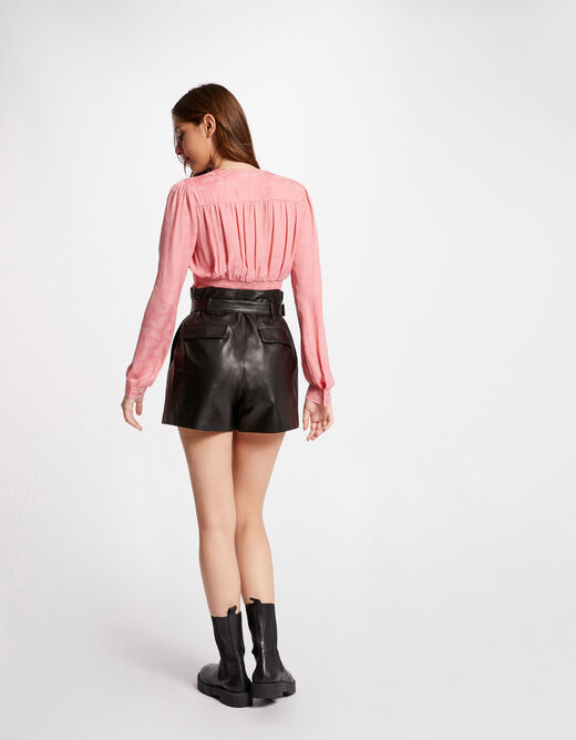 Long-sleeved shirt with shirring pale pink ladies'