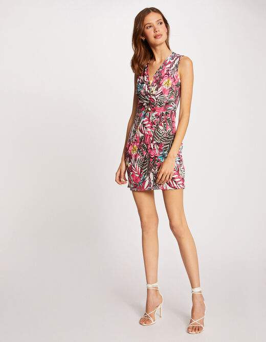 Fitted dress with vegetal print fuchsia ladies'