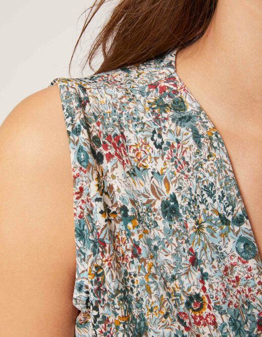 Printed vest top with wide straps green ladies'
