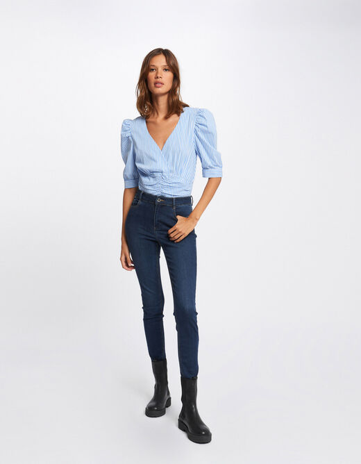 Short-sleeved blouse with stripes sky blue ladies'
