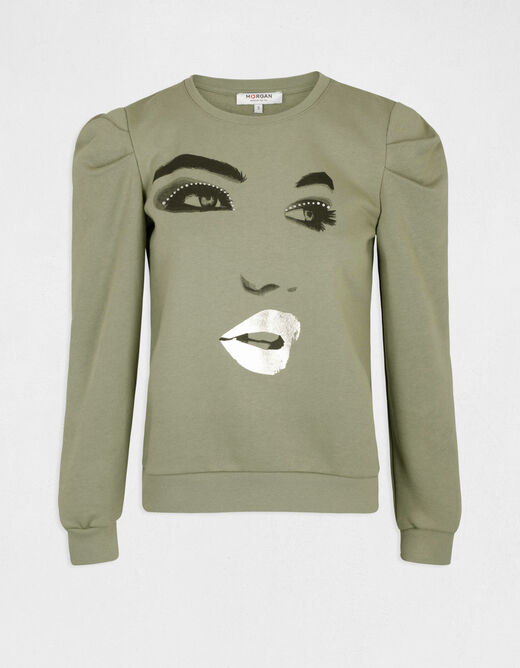 Long-sleeved sweat with message lime ladies'