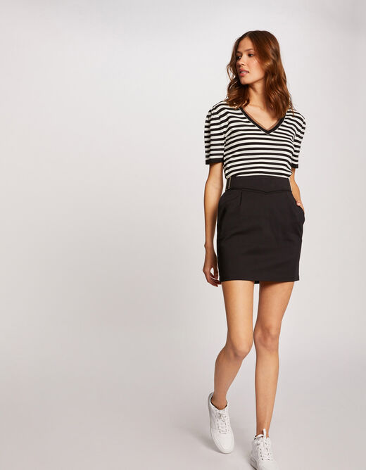 Fitted skirt with buckles black ladies'
