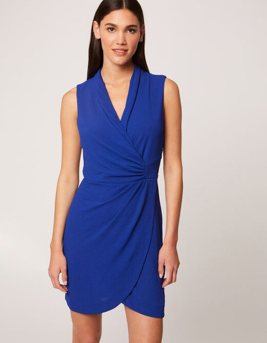 Straight dress with wrap-over effect electric blue ladies'