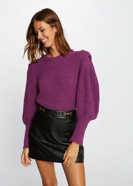 Pull manches longues bouffantes rose femme