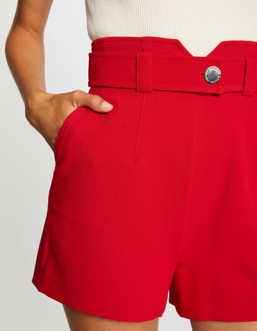 High-waisted straight belted shorts red ladies'
