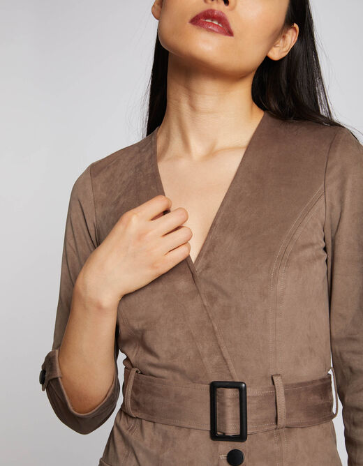 Straight playsuit with wrap-over effect taupe ladies'