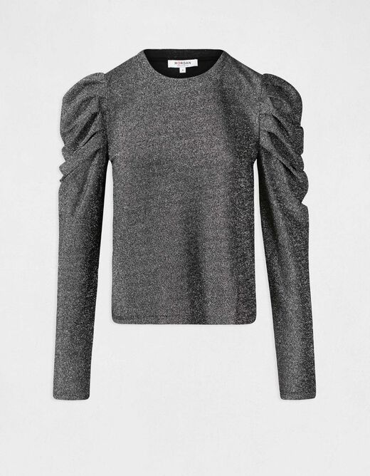 T-shirt with puff long sleeves silver ladies'