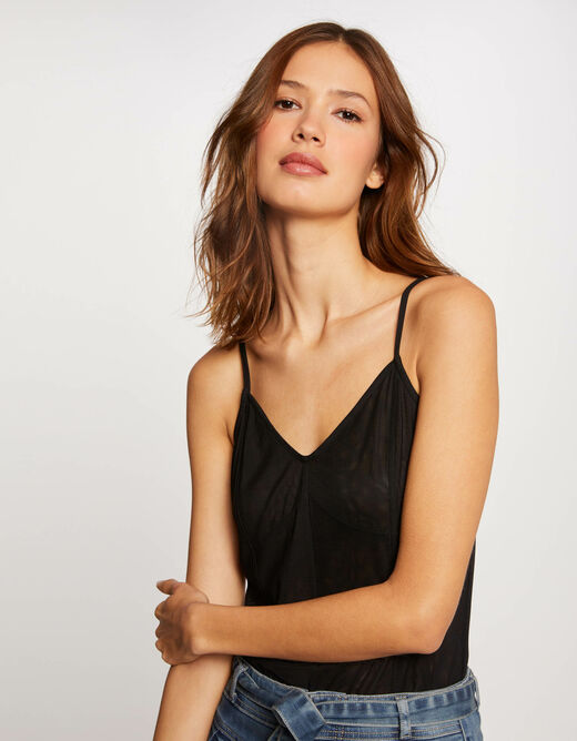 Vest top with thin straps and V-neck black ladies'