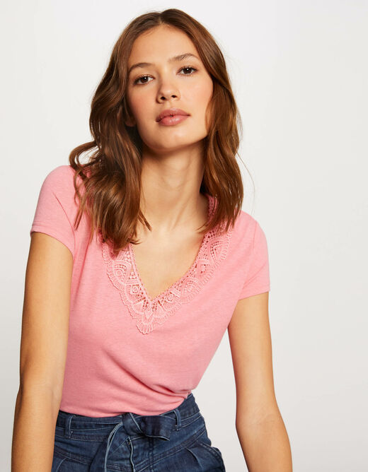 Short-sleeved t-shirt with lace fuchsia ladies'