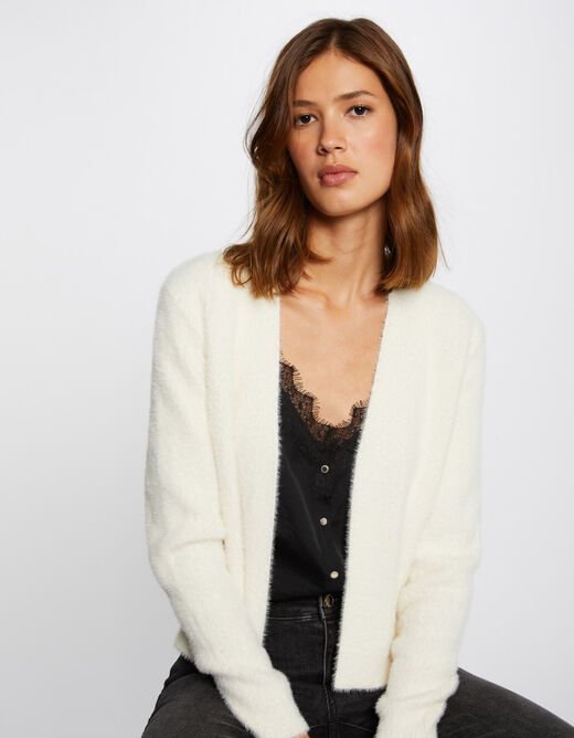 Long-sleeved cardigan with fluffy knit ivory ladies'