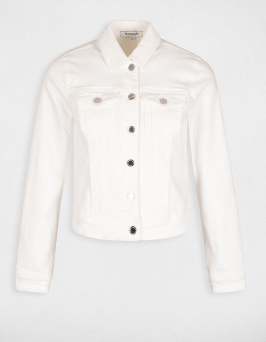 Straight buttoned jacket white ladies'