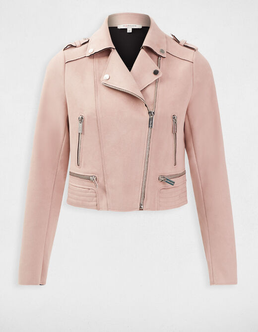 Short straight jacket notched collar antique pink ladies'