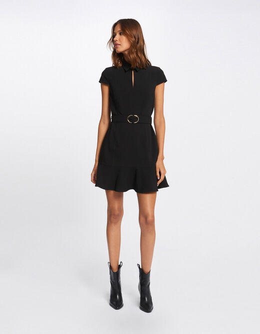 A-line belted dress with ruffles black ladies'