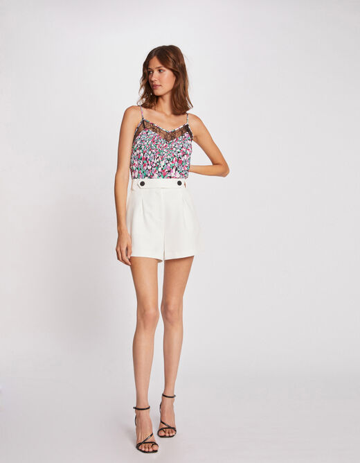 Blouse with thin straps and floral print multico ladies'