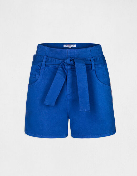 High-waisted straight belted shorts electric blue ladies'
