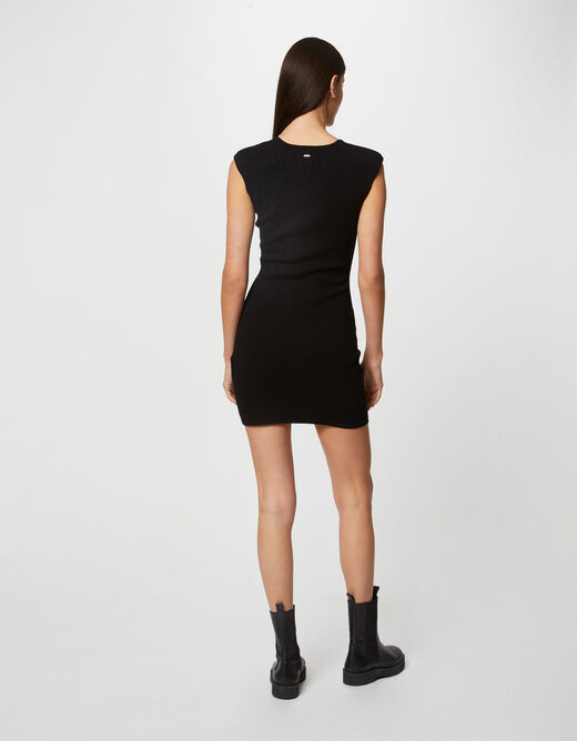 Fitted jumper dress with square neck black ladies'