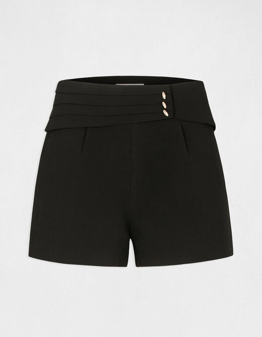 Straight shorts with folds details black ladies'