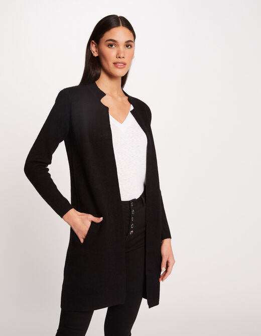 Straight jacket with notched collar anthracite grey ladies'