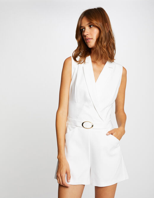 Fitted playsuit with buckle ecru ladies'