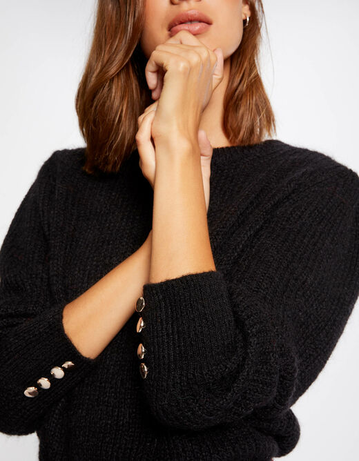 Long-sleeved jumper with buttons black ladies'