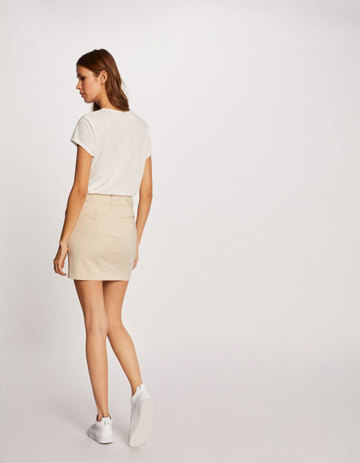 Fitted skirt with buckles beige ladies'