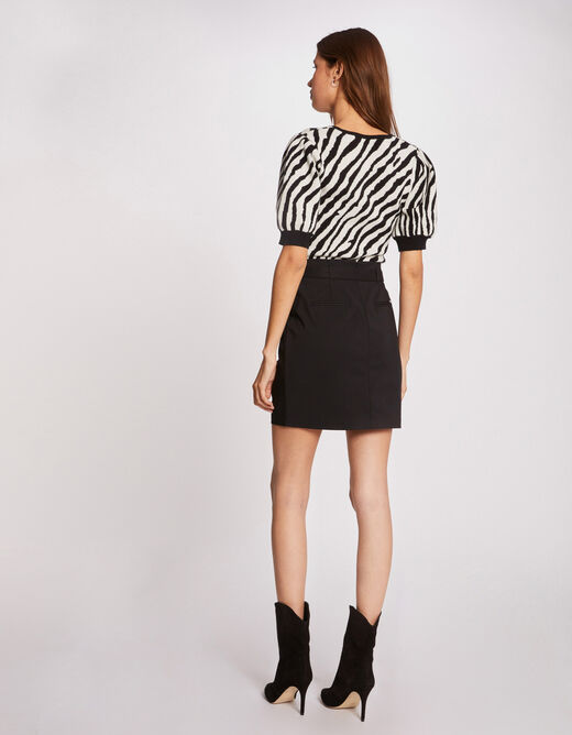 Straight skirt with buttoned tabs black ladies'