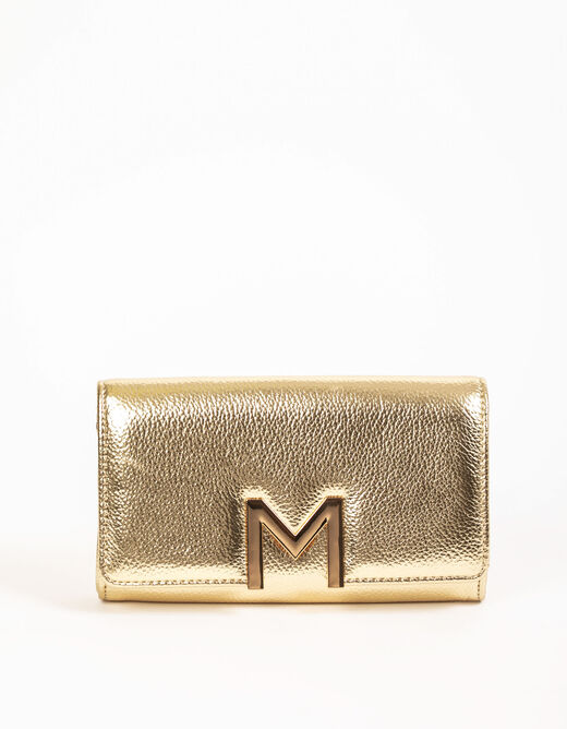"""Clutch bag with """"M"""" ornament gold ladies'"""