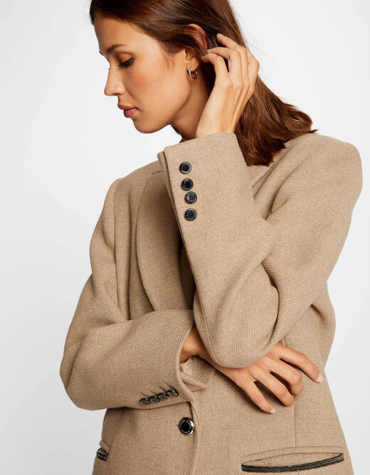 Waisted coat with notched lapel collar beige ladies'