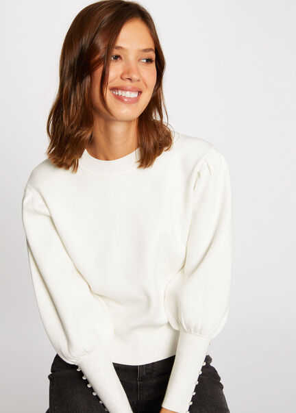 Pull manches longues a col montant ecru femme