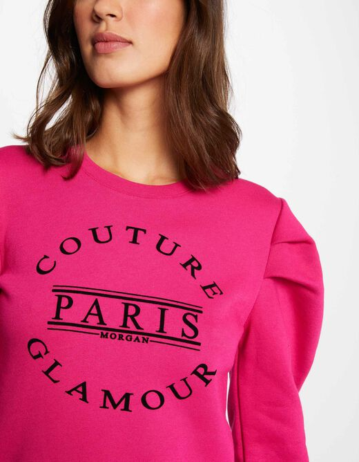 Long-sleeved sweat with message fuchsia ladies'