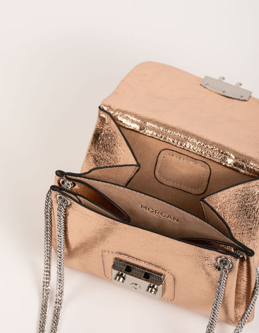 Clutch bag with metallised effect gold ladies'