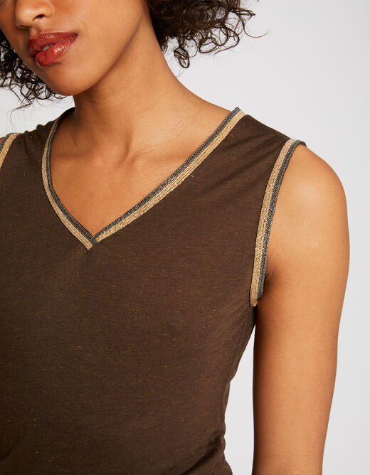Vest top with large straps and strips khaki ladies'