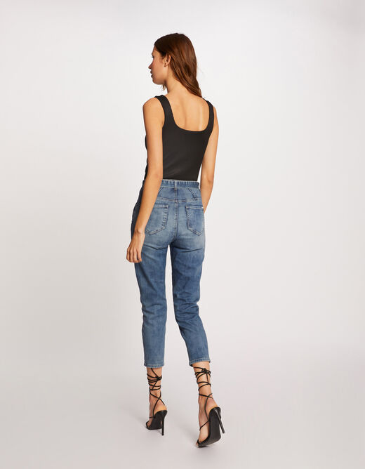 Pleated body with wide straps black ladies'