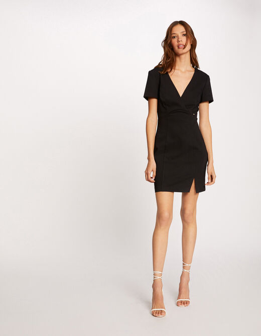 Fitted dress with V-shaped back black ladies'