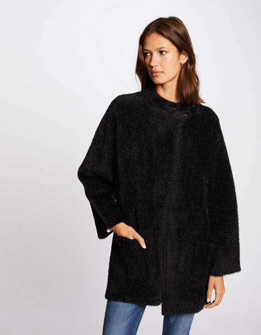 Long-sleeved cardigan with high collar black ladies'