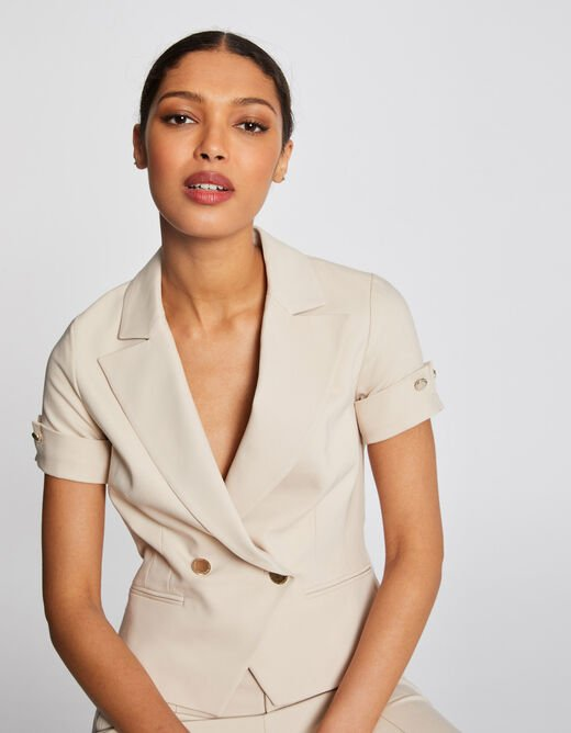 Straight jacket notched lapel collar sand ladies'