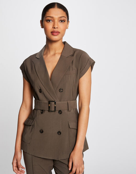 Short-sleeved fitted jacket with belt khaki ladies'