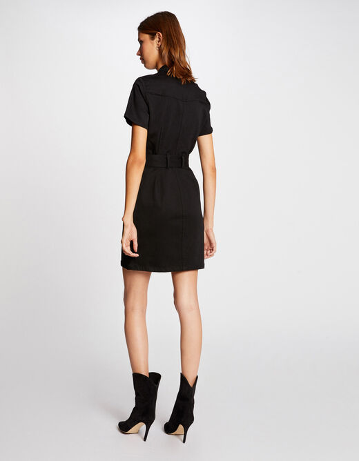 Straight belted dress with buttons black ladies'