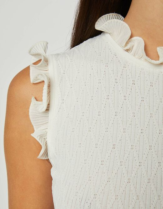 Fitted jumper dress with ruffles ivory ladies'