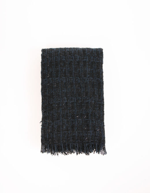 Scarf with fringes navy ladies'